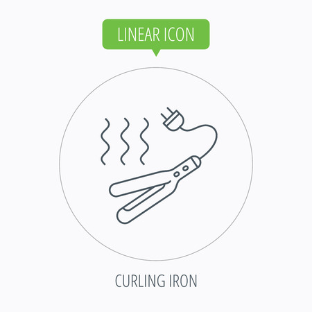 electric iron: Curling iron icon. Hairstyle electric tool sign. Linear outline circle button. Vector