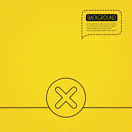 Delete icon. Decline or Remove sign. Cancel symbol. Speech bubble of dotted line. Orange background. Vector Illustration