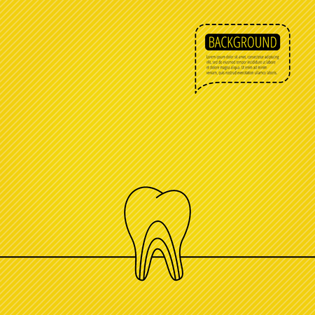 tubules: Dentinal tubules icon. Tooth medicine sign. Speech bubble of dotted line. Orange background. Vector Illustration