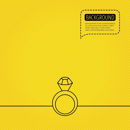 Engagement ring icon. Jewellery with diamond sign. Speech bubble of dotted line. Orange background. Vector Illustration
