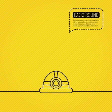 Engineering icon. Engineer or worker helmet sign. Speech bubble of dotted line. Orange background. Vector Illustration