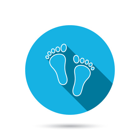 baby blue: Baby footprints icon. Child feet sign. Newborn steps symbol. Blue flat circle button with shadow. Vector
