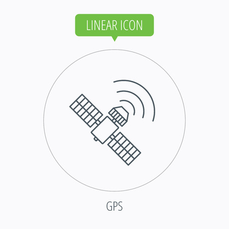 satellite navigation: GPS icon. Satellite navigation sign. Linear outline circle button. Vector Illustration