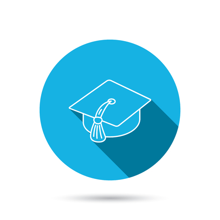 master degree: Graduation cap icon. Diploma ceremony sign. Blue flat circle button with shadow. Vector