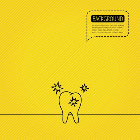Healthy tooth icon. Dental protection sign. Speech bubble of dotted line. Orange background. Vector