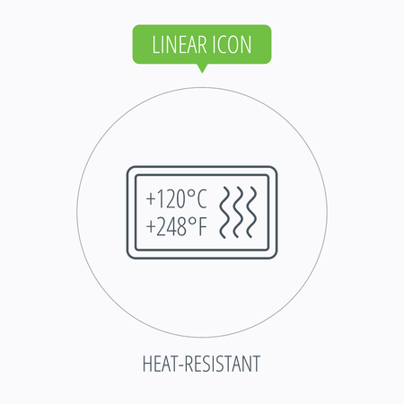 resistant: Heat resistant icon. Microwave or dishwasher information sign. Attention symbol. Linear outline circle button. Vector