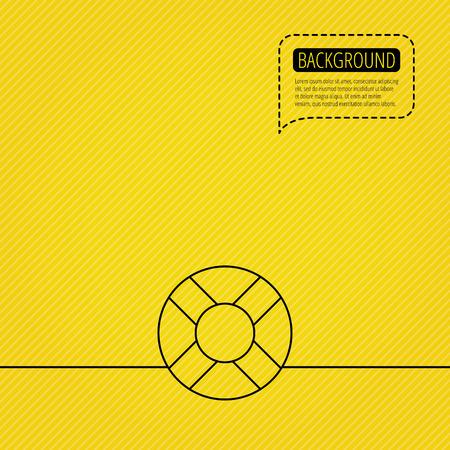 lifesaver: Lifebuoy icon. Lifebelt sos sign. Lifesaver help equipment symbol. Speech bubble of dotted line. Orange background. Vector