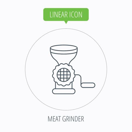 mincer: Meat grinder icon. Manual mincer sign. Kitchen tool symbol. Linear outline circle button. Vector