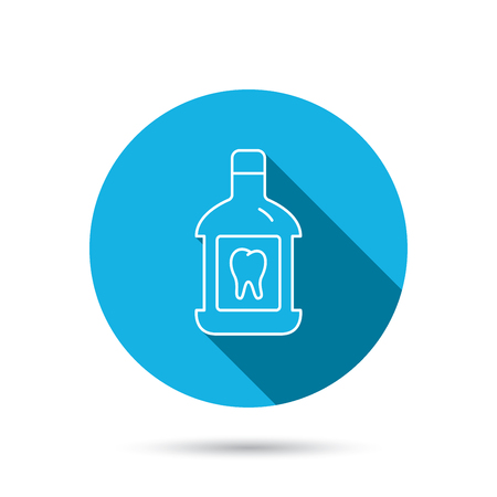 antibacterial: Mouthwash icon. Oral antibacterial liquid sign. Blue flat circle button with shadow. Vector