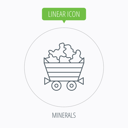 jewel: Minerals icon. Wheelbarrow with jewel gemstones sign. Linear outline circle button. Vector