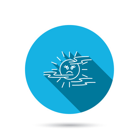 mist: Mist icon. Fog with sun sign. Sunny smile symbol. Blue flat circle button with shadow. Vector