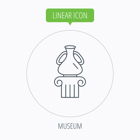 antique vase: Museum icon. Antique vase on pillar sign. Linear outline circle button. Vector Illustration