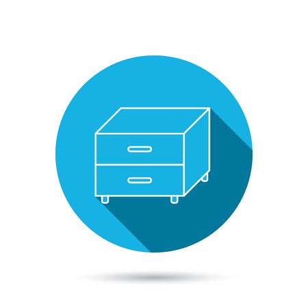 nightstand: Nightstand icon. Bedroom furniture sign. Blue flat circle button with shadow. Vector