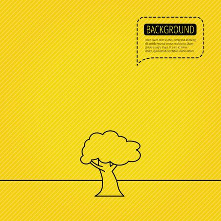coma: Oak tree icon. Forest wood sign. Nature environment symbol. Speech bubble of dotted line. Orange background. Vector