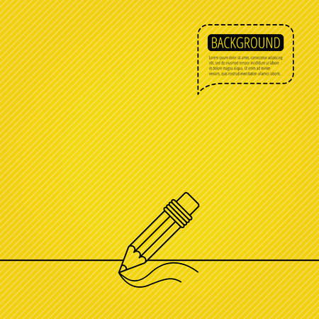 Pencil icon. Drawing tool sign. Study equipment. Speech bubble of dotted line. Orange background. Vector Illustration
