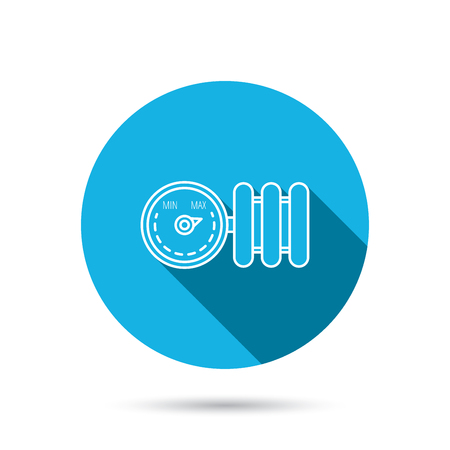 calentador: Radiador con el icono del regulador. Signo del calentador. Bot�n azul c�rculo plano con la sombra. Vector Vectores