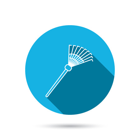 gardening  equipment: Rake icon. Gardening equipment sign. Outdoor instrument symbol. Blue flat circle button with shadow. Vector