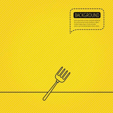 pitchfork: Pitchfork icon. Agriculture sign symbol. Speech bubble of dotted line. Orange background. Vector Illustration