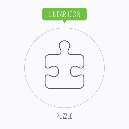 logical: Puzzle icon. Jigsaw logical game sign. Boardgame piece symbol. Linear outline circle button. Vector