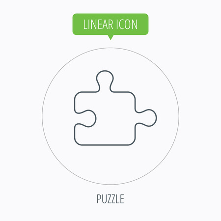 boardgames: Puzzle icon. Jigsaw logical game sign. Boardgame piece symbol. Linear outline circle button. Vector