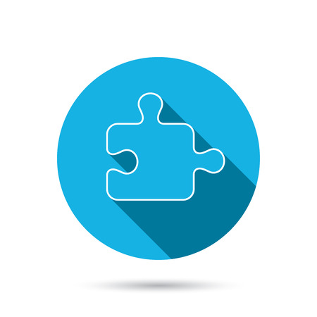logical: Puzzle icon. Jigsaw logical game sign. Boardgame piece symbol. Blue flat circle button with shadow. Vector