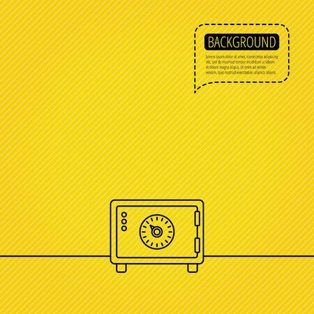 combination safe: Safe icon. Money deposit sign. Combination lock symbol. Speech bubble of dotted line. Orange background. Vector