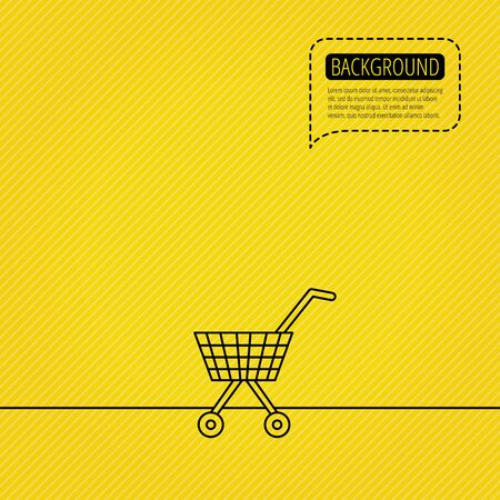 affiliation: Shopping cart icon. Market buying sign. Speech bubble of dotted line. Orange background. Vector