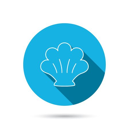 mollusk: Sea shell icon. Seashell sign. Mollusk shell symbol. Blue flat circle button with shadow. Vector Illustration