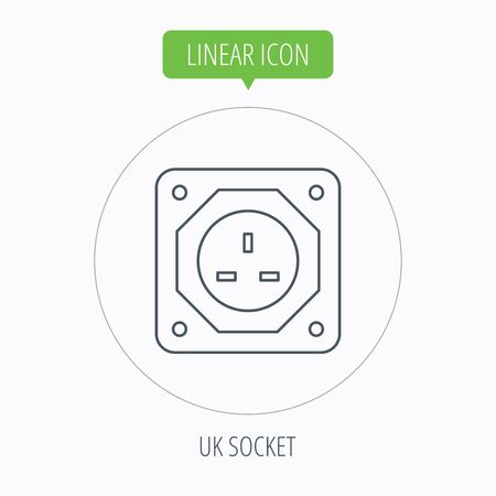 adapter: UK socket icon. Electricity power adapter sign. Linear outline circle button. Vector Illustration