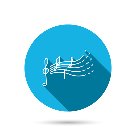 songs: Songs for kids icon. Musical notes, melody sign. G-clef symbol. Blue flat circle button with shadow. Vector Illustration