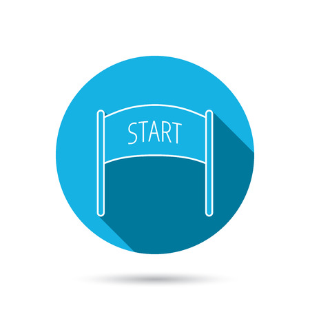 checkpoint: Start banner icon. Marathon checkpoint sign. Blue flat circle button with shadow. Vector Illustration