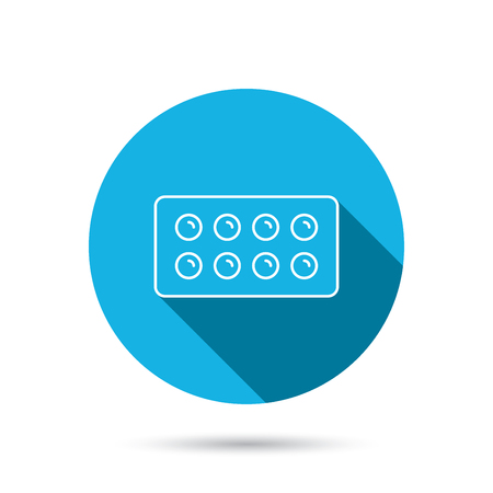 painkiller: Tablets icon. Medical pills sign. Painkiller drugs symbol. Blue flat circle button with shadow. Vector Illustration