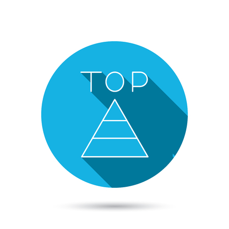best result: Triangle icon. Top or best result sign. Success symbol. Blue flat circle button with shadow. Vector