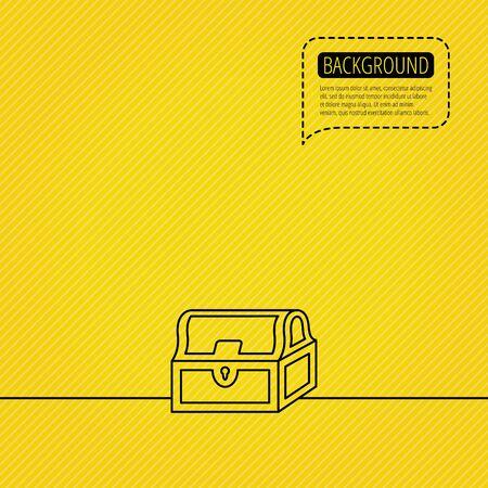 hoard: Treasure chest icon. Piratic treasury sign. Wealth symbol. Speech bubble of dotted line. Orange background. Vector