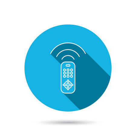 switching: Remote control icon. TV switching channels sign. Blue flat circle button with shadow. Vector