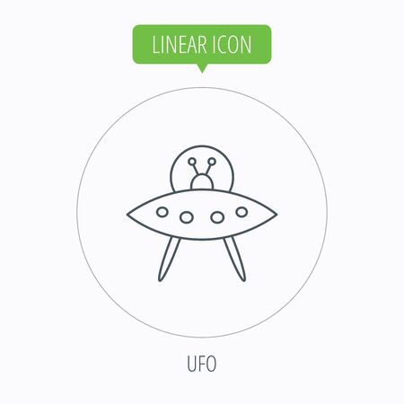 martians: UFO icon. Unknown flying object sign. Martians symbol. Linear outline circle button. Vector