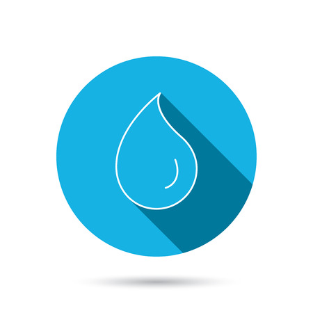 washing symbol: Water drop icon. Liquid sign. Freshness, condensation or washing symbol. Blue flat circle button with shadow. Vector
