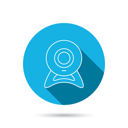 web cam: Web cam icon. Video camera sign. Online communication symbol. Blue flat circle button with shadow. Vector Illustration