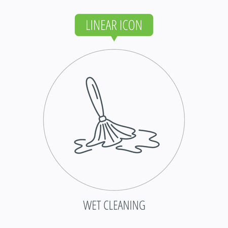 cleanup: Wet cleaning icon. Clean-up floor tool sign. Linear outline circle button. Vector