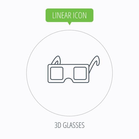 freetime: 3D glasses icon. Cinema technology sign. Vision effect symbol. Linear outline circle button. Vector