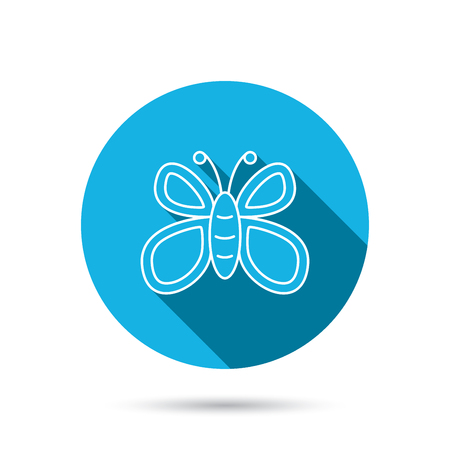 lepidoptera: Butterfly icon. Flying lepidoptera sign. Dreaming symbol. Blue flat circle button with shadow. Vector