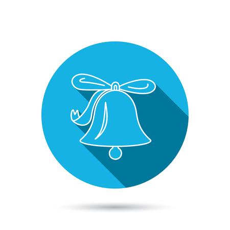 handbell: Ringing jingle bell icon. Sound sign. Alarm handbell symbol. Blue flat circle button with shadow.