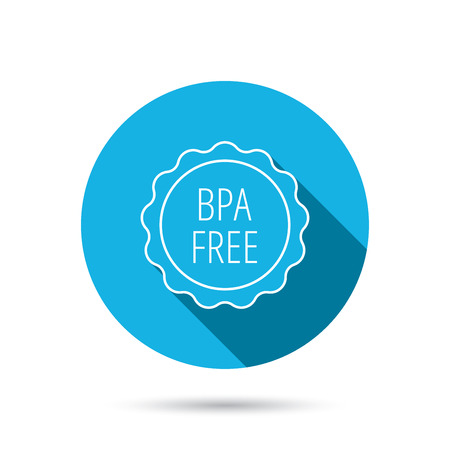 phthalates: BPA free icon. Bisphenol plastic sign. Blue flat circle button with shadow.  Illustration