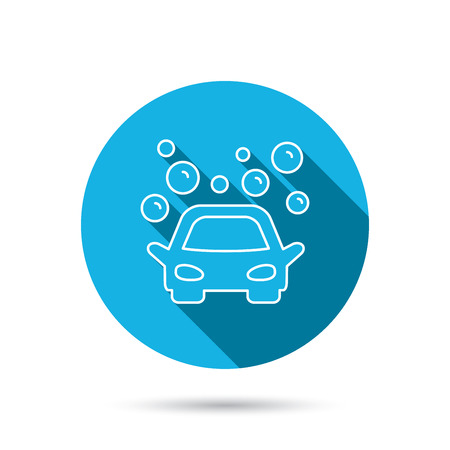 Car wash icon. Cleaning station sign. Foam bubbles symbol. Blue flat circle button with shadow.  Illustration