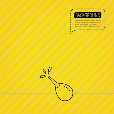 einlauf: Medical clyster Symbol. Einlauf mit Wasser Tropfen Zeichen. Sprechblase der gestrichelten Linie. Orangefarbenen Hintergrund. Illustration