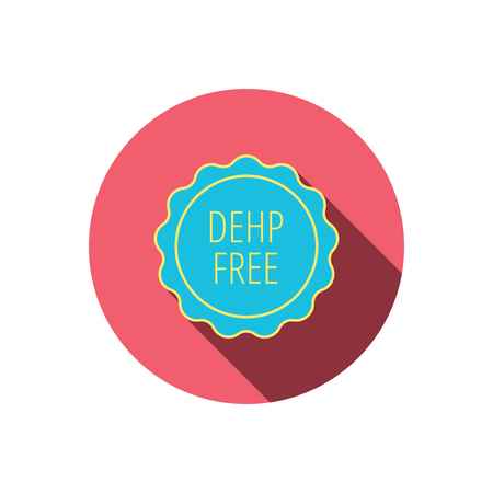 DEHP free icon. Non-toxic plastic sign. Red flat circle button. Linear icon with shadow.  Illustration