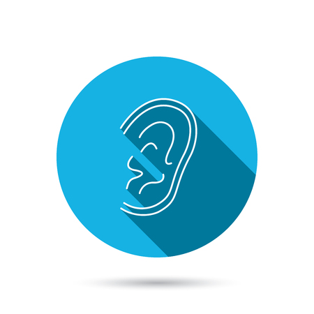 hear: Ear icon. Hear or listen sign. Deaf human symbol. Blue flat circle button with shadow.