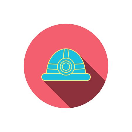 Engineering icon. Engineer or worker helmet sign. Red flat circle button. Linear icon with shadow.  Illustration