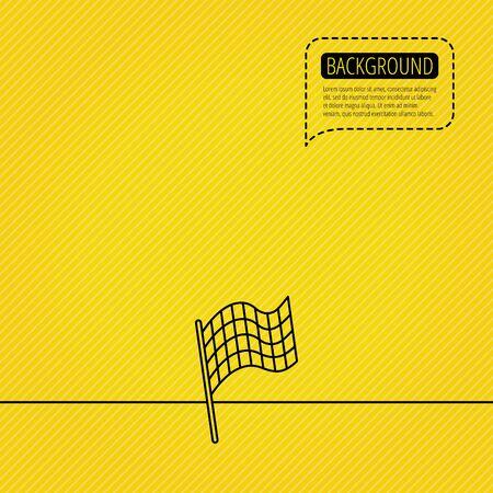 winning location: Finish flag icon. Start race sign. Speech bubble of dotted line. Orange background.