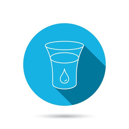 blue glass: Glass of water icon. Drop sign. Blue flat circle button with shadow.  Illustration